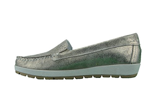 Enval soft 12586 Taupe Scarpa Donna Mocassino Pelle Platino Made In Italy