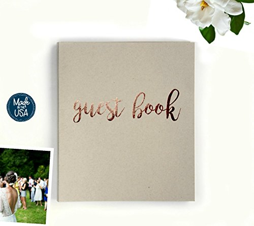 Guest Book Wedding Guest Book Alternative. 8.5'' x 7'' Flat-Lay Softcover, 130 pgs, Kraft Cardstock Softcover w/Rose Gold Foil. Rustic Wedding Guestbook, Photo Guest Book Instax Guest Book (Sand) by Modern Notebooks