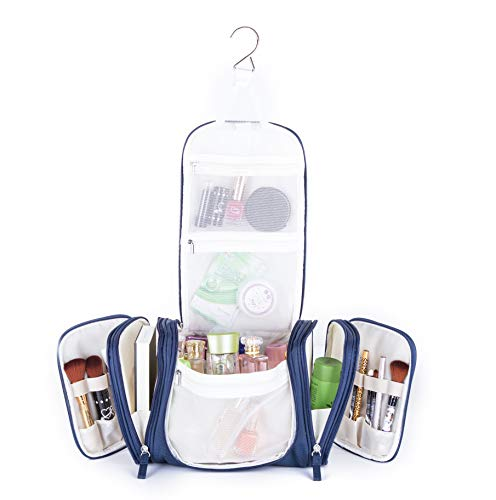 Avigo Bags Extra Large Hanging Toiletry/Cosmetic Bag | Makeup Organizer | with Optional Shoulder Strap | 500D Polyester | Navy