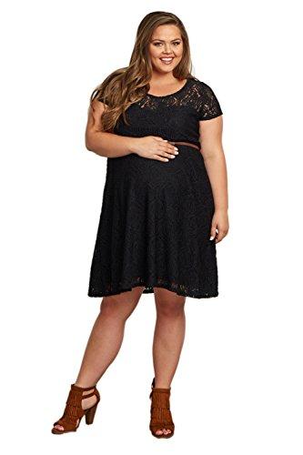 Buy belted black lace dress - 1