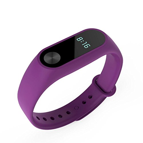 Price comparison product image Dreamyth Replacement Band Strap Wristband Bracelet + Metal Buckle for Xiaomi Mi Band 2 Smartband (Purple)