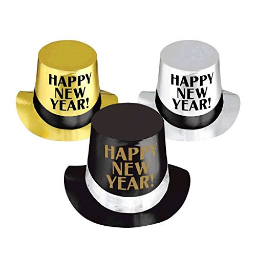 - Amscan Rocking New Year's Party Classic Top Hats Accessory, Black,Silver,Gold, Foil, 5