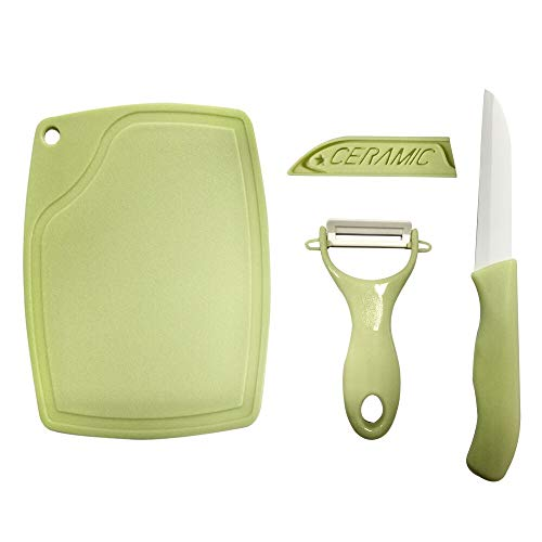 Ceramic Fruit Knife Peeler Set - Premium Kitchen Small Knife and Peeler for Fruit and Vegetable, Includes 1 Knife, 1 Peeler, 1 Mini Cutting Board (Green)