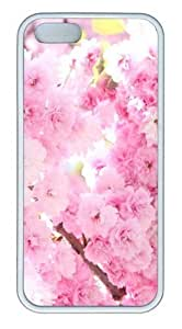 Pink Cherry Blossoms TPU Silicone Rubber iPhone 5 and iPhone 5S Case Cover - White