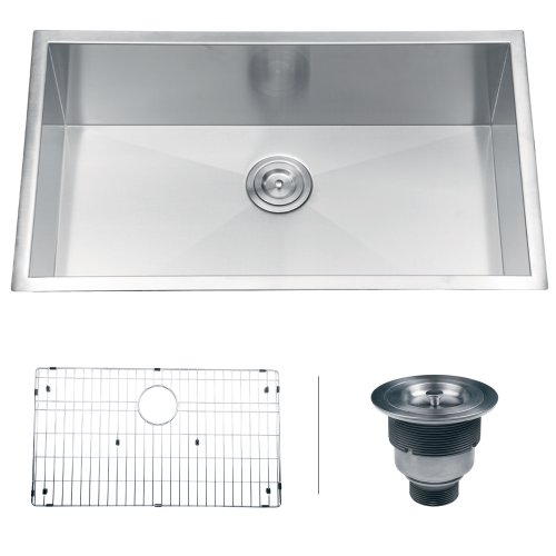 "Ruvati RVH7405 Undermount 16 Gauge 32"" Kitchen Sink Single Bowl, Stainless Steel"