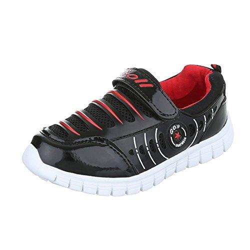 Ital-Design - Tobillo bajo Niños negro rojo
