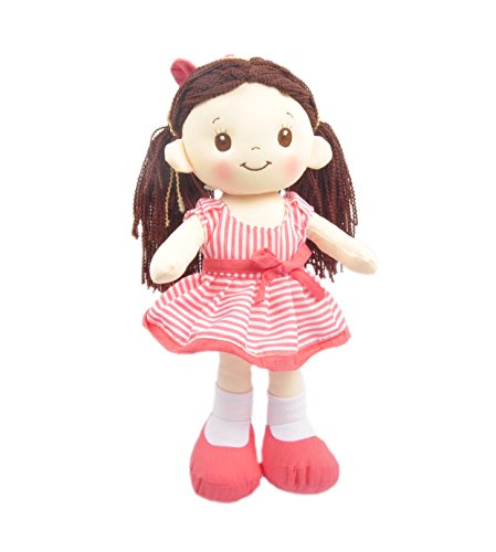 "Linzy Plush 16"" Coral Pink Lacy Doll Soft Rag Doll"