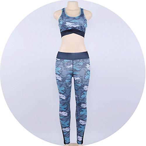 - love enjoy Yoga Set High Waist Elastic Yoga Suit Fitness Gym Sportswear for Women Capri Clothing,Blue,L
