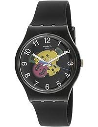 Originals Patchwork Black Dial Silicone Strap Unisex Watch SUOB140