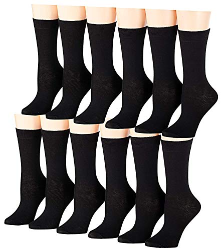 Tipi Toe Women's 12-Pairs Lightweight Solid Colored Crew Socks (Fits womens shoe size 5-9, Black, (WC14B-12))