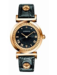 "Versace Women's P5Q80D009 S009 ""Vanity"" Rose Gold Ion-Plated Watch with Leather Strap"
