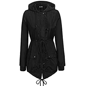 Zeagoo Women's Casual Raincoats Active Outdoor Hooded Long Sleeve Rainproof Windproof Lightweight Jacket Black/XL