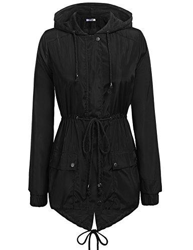 Zeagoo Women's Casual Raincoats Active Outdoor Hooded Long Sleeve Rainproof Windproof Lightweight Jacket Black/XL by Zeagoo