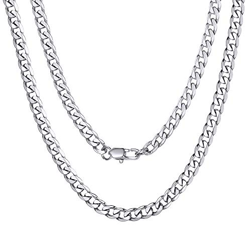 ChainsPro Mens Stainless Steel Neck Chains Cuban Link Chain Necklaces Jewelry Gift
