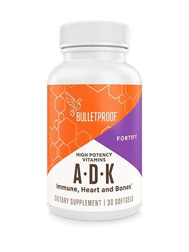 Bulletproof Vitamins A-D-K, High Potency, Heart, Bone and Immune, Vitamins A, D3 (5,000 IU), K1, K2 (MK7 and MK4), No Soy