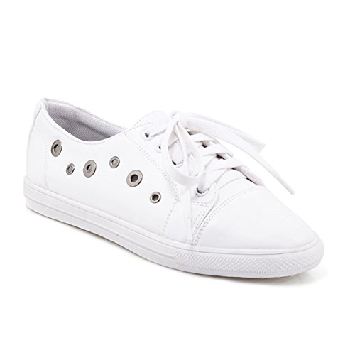 Women Flats Lace Up Round Toe Metal Footwear Girl Shoes Big Size White - Map Arundel Mills