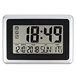 Forestime Full Digital Wall Clock with Calendar & Temperature, Large LCD Screen Alarm Clock with Extra Large Digits, Battery Operated, Easy to Read and Set, Perfect for Seniors