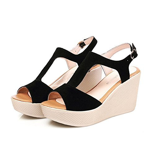 JULY Sexy High Sanding Strap Dress Buckle Sandals Fashion Ankle On Pumps Toe Peep Slip T Heel Black1 Platform Shoes Womens 6fYq76dw