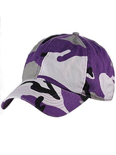 NYFASHION101 Unisex Adjustable 6-Panel Low-Profile Baseball Cap LOW100- Purple Camo ()