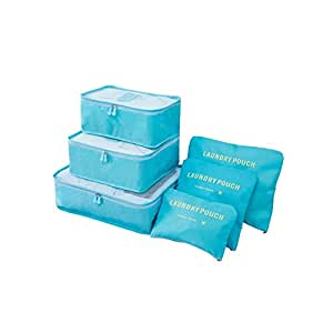 6 Set Packing Pouch Travel Storage Bags Multi-functional Clothing Sorting Packages Luggage Organizer Cubes(Blue)