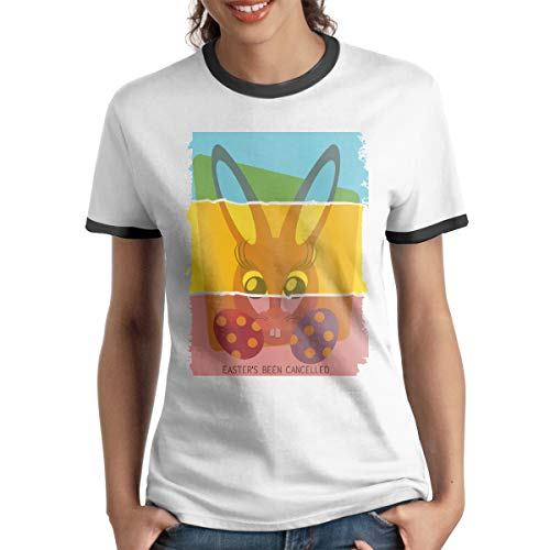 - HAIGUANGZ Design Easter Bunny Don't Exist Been Cancelled Ringer T Shirts O-Neck for Women Black S
