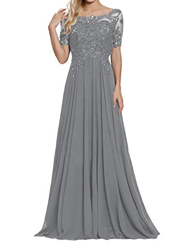 A Line Mother of The Bride Dresses for Wedding Party Gown Long Prom Dress Steel Grey US16W (Best Mother Of The Bride Gowns)