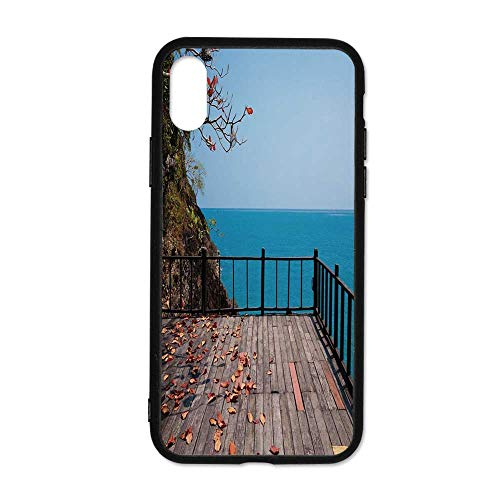 Rock Terrace - Patio Decor Simple Phone Case,Terrace Rock on The Sea with Autumn Leaves Branches and Trees Compatible with iPhone X,iPhoneX