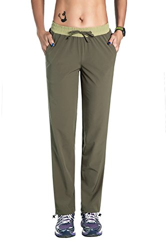 (Nonwe Women's Outdoor Quick Dry Hiking Pants with a Leg Hem Cinch Green M/30.5