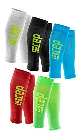 CEP Womens Calf Compression Running Sleeves Ultralight (White/Green) III