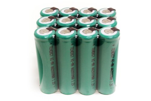 Combo: 12 pcs Tenergy AA 2000mAh NiMH Rechargeable Battery Flat Top with Tabs for Shavers, Trimmers, Razors, and more