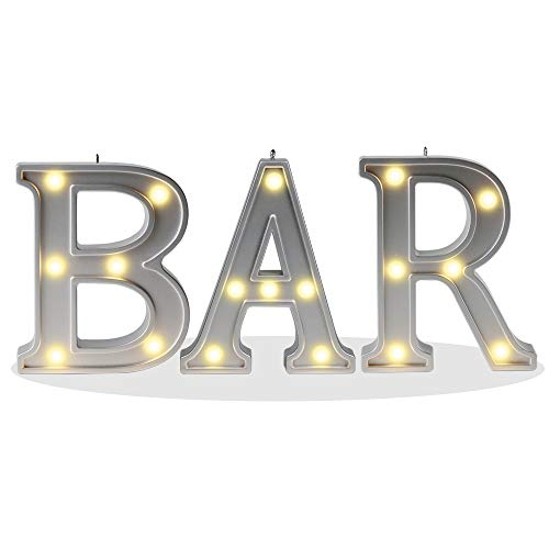 DELICORE Decorative Illuminated BAR Marquee Word Sign (Silver Color 4.21