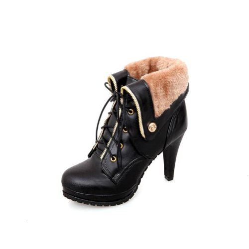 Charm Foot Fashion Womens Platfrom High Heel Western Boots Martin Boots Winter Boots (10, -