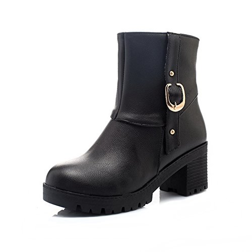 PU Low Allhqfashion Toe sólidas botas top Round Heels negras Women Kitten de qa4qSR