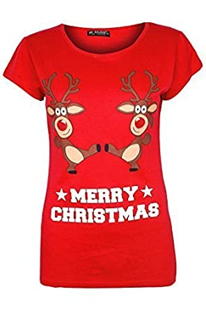 51f2ba07 Ladies Christmas T Shirt Womens Reindeer On Wall Xmas Snowflake Jersey Cap  Sleeve Top: Amazon.co.uk: Clothing