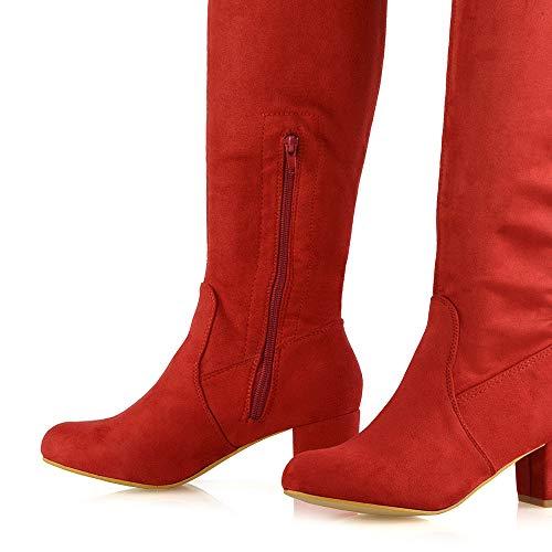 Stretch Haute Du Suede Essex Lacets Femmes Genou Faux Dames Talon Jambe Bloc Rouge Chaussures Glam Au dessus Longues q0gYq