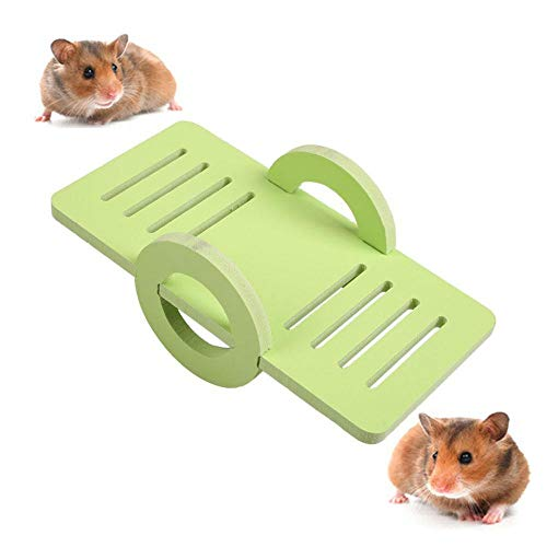 Aolvo Hamster Seesaw, Syrian/Dwarf Hamster Toys, Funny Exercise Play Platform, Big Cage Nest Habitat Accessories for Small Animals Like Rat, Hedgehog, Guinea Pig, Chinchilla, Squirrel, Parrot - Green ()