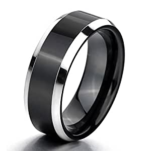 MunkiMix Tungsteno Anillo Ring Banda Venda El Tono De Plata Negro Comodidad Cómodo Alianzas Boda Talla Tamaño 12 Hombre