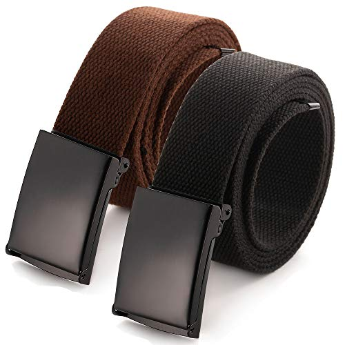 "Cut To Fit Canvas Web Belt Size Up to 52"" with Flip-Top Solid Black Military Buckle (2 Pack Black/Brown)"