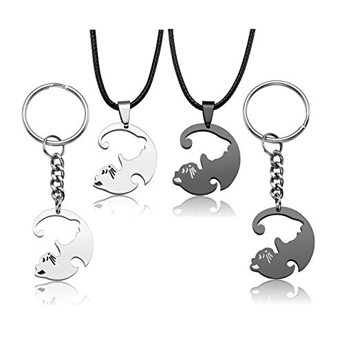 Jovivi 4pcs Stainless Steel Couple Necklace Yin Yang Pet Cat Puzzle Pendant Necklace Keychain Jewelry Gift for Lover Best Friends