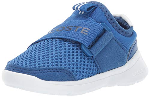 Lacoste Baby LT Dash Sneaker, Blue/White, 4. Medium US Toddler (Lacoste Baby Sneakers)