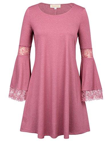 Bell Sleeve A Line Tunic Dress Loose Casual Dress for Women Dark Pink S,KK761-3