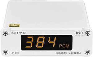 Topping D10s Mini USB DAC Audio Decoder XMOS XU208 ES9038Q2M DSD256 32bit/384kHz HiFi Desktop DAC Coax/Opt/RCA Output USB Input(Silver)