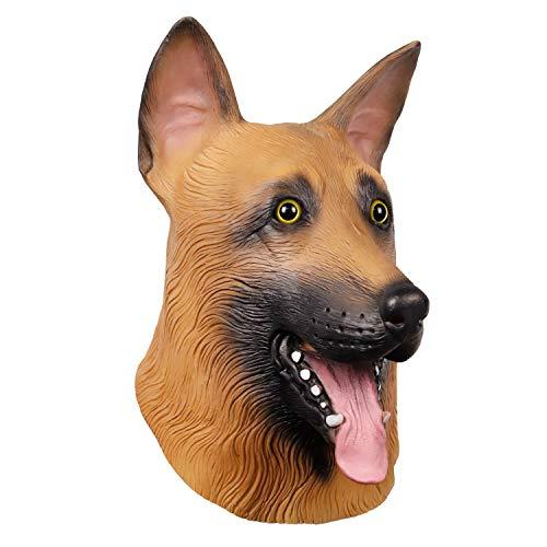 Novelty Latex Rubber German Shepherd Dog Animal Head Mask Super Bowl Underdog Head Halloween Party Costume Decorations Mask for Philadelphia Eagles Fans ()