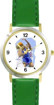 High Action Basketball Art No.3 Basketball Theme - WATCHBUDDY DELUXE TWO-TONE THEME WATCH - Arabic Numbers - Green Leather Strap-Women's Size-Small by WatchBuddy