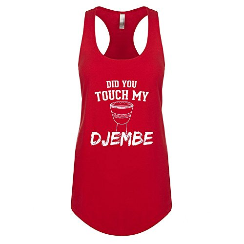 (Mad Over Shirts Did You Touch My Djembe Small Red Unisex Premium Racerback Tank top)