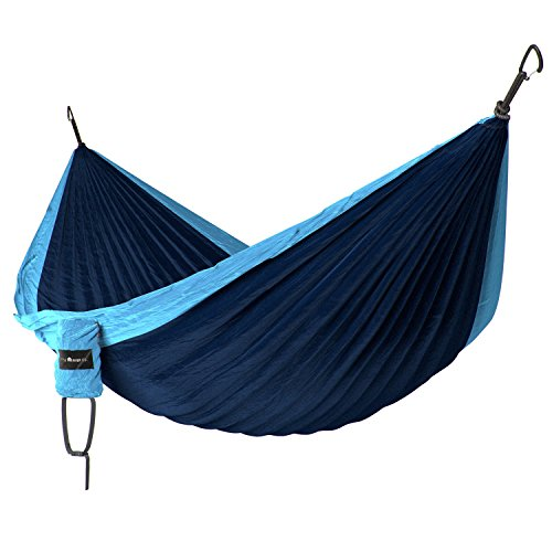 Little River Co. Double Hammock, Ultra-Durable Camping Nylon Parachute Fabric Wiregate Carabiners Compact Portable for Indoor Outdoor Relaxation 400 lb Capacity Without Hanging Straps