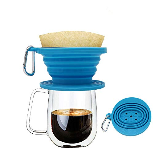 Wolecok Silicone Collapsible Coffee Filter, Camping Coffee Dripper Cone, Pour over Coffee Brewer Light Blue