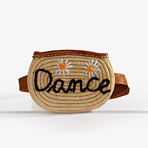 Handmade cotton floral fancy Raffia belt bag with leather strap - put your name on it - Fanny pack for women: waist bags, fashion bum - bamboo handwoven summer straw handbag (Belted Straw Belt)