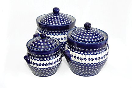 Polish Pottery Flowering Peacock Large Canister Set
