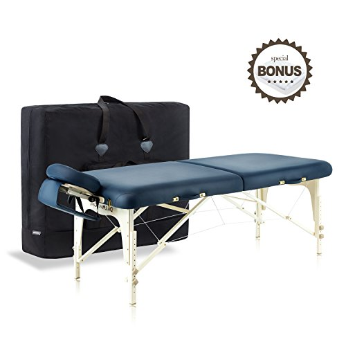 Price comparison product image Dr.lomilomi Delux Maple Hardwood Portable Massage Table Spa Bed 101 Package (101, Queen blue)